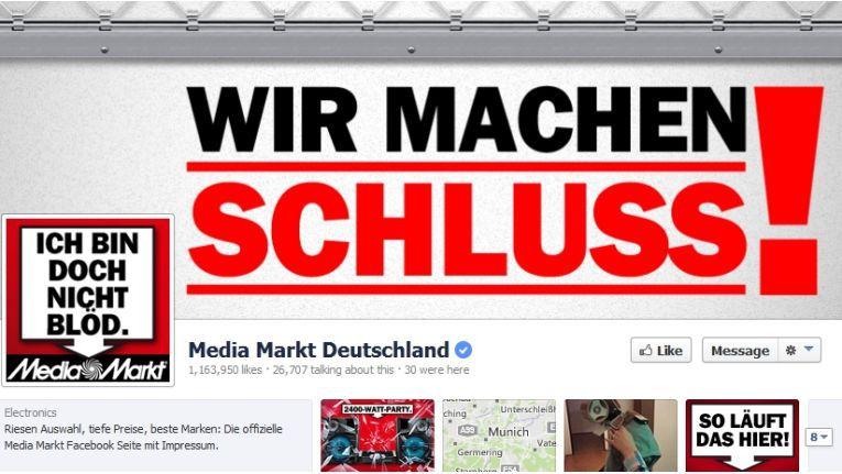 """Der Blick auf die Facebook-Seite von Media Markt zeigt, dass viele Kunden den aktuellen """"Schlussverkauf"""" missverstehen."""