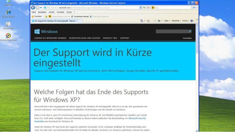 Der Support für Windows XP endet am 8. April 2014 - darauf wies Microsoft schon seit vier Jahren immer wieder hin...