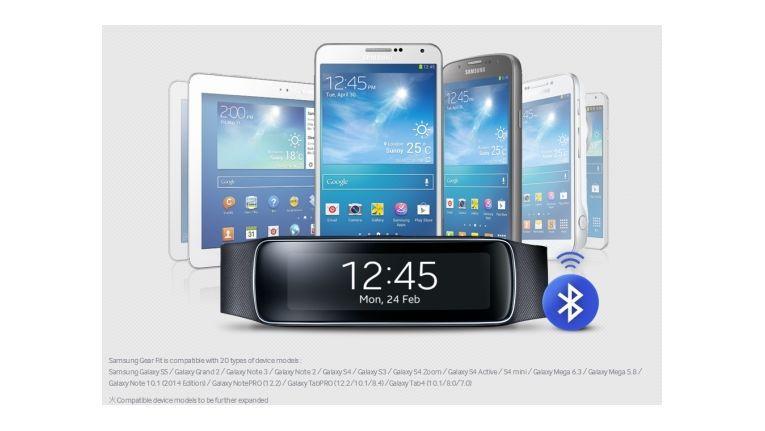 Gear Fit ist mit 20 Samsung-Geräten kompatibel
