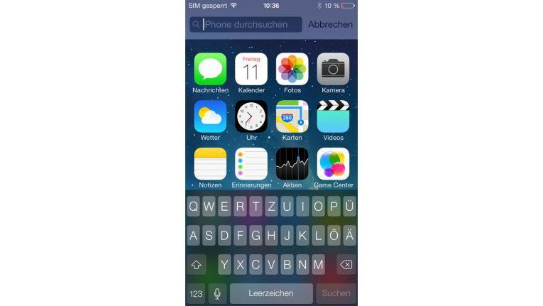 Die Suchfunktion in iOS 7