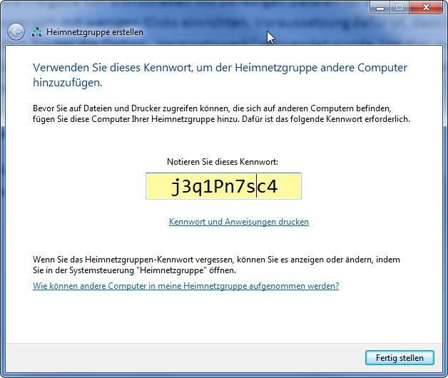 Bild Windows Generiert Ein Passwort Mit Dem Sich Andere Rechner Im