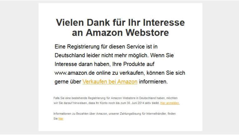 Lediglich mit einer lapidaren Mitteilung auf der Webstore-Homepage gibt Amazon die Einstellung der Mietshop-Lösung bekannt