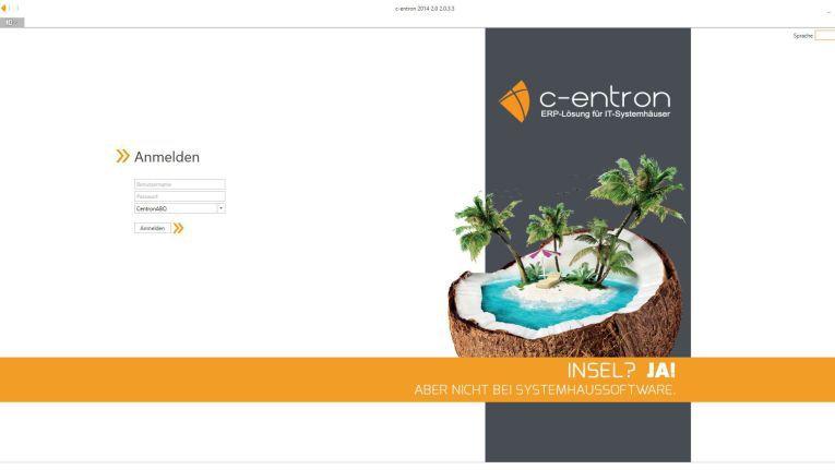 Startmaske des c-entron-ERP-Systems für den Channel.