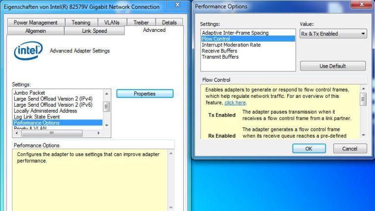 "Intel GigaBit Default ""Flow Control Settings"""