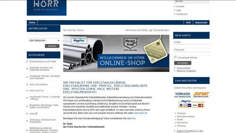 Die Homepage von Sascha Hörr Edelstahlhandel
