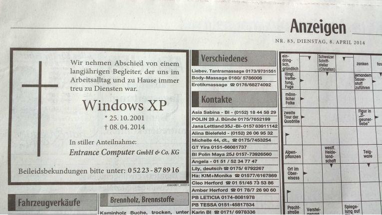 Pietätlos oder pfiffige Werbeidee? Ein Großteil der Leser fanden diese Todeanzeige für Windows als einen gelungenen Werbegag.