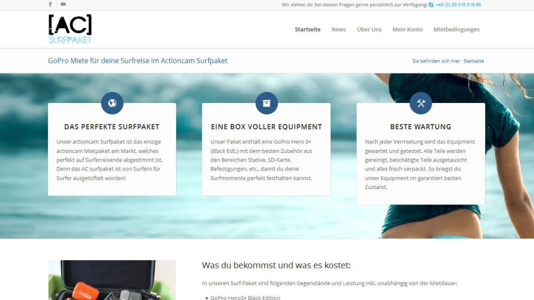 Sage Pay bei AC Surfpaket