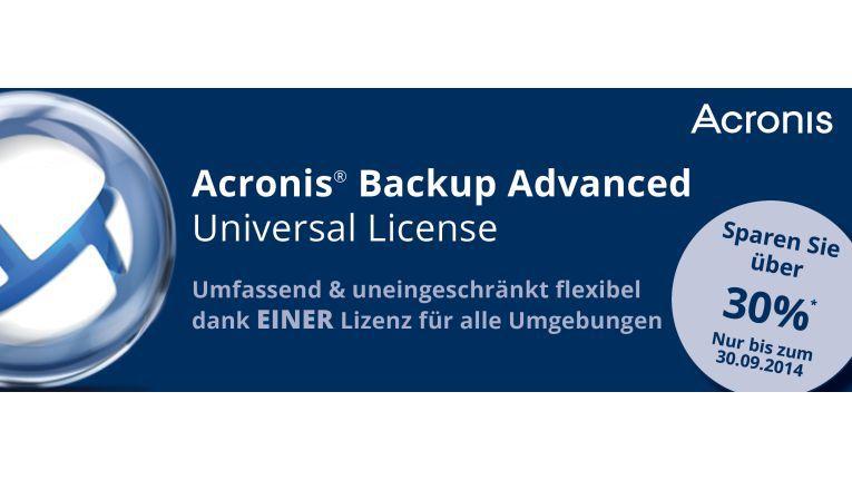 Ein All-in-One-Angebot mit über 30 Prozent Ersparnis auf den EVK bietet Acronis mit seiner Backup Advanced Universal License.