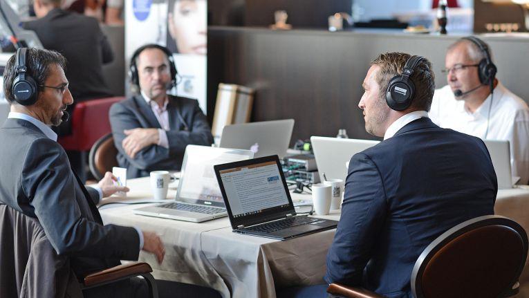 """Auch auf dem Systemhauskongress """"Chancen 2015"""" war das Channelcast-Team vertreten: Gast Martin Mayr (Cancom), Andreas Raum, Alexander Roth und Christian Meyer (v.l.n.r.)"""