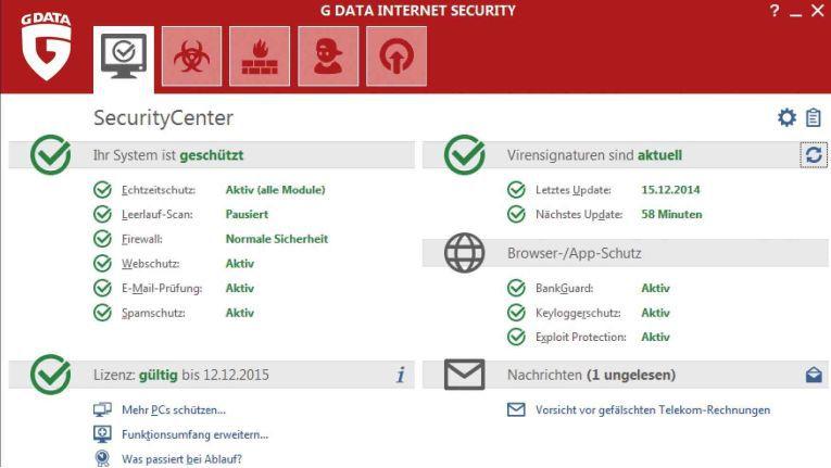 G Data Internet Security: sichert PC und persönliche Daten ab.