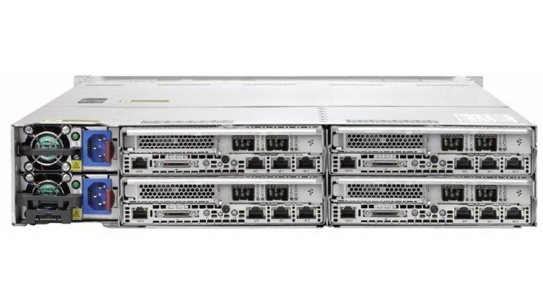 Unterstützt wird der Handel unter anderem durch spezielle Veranstaltungen und Demosysteme für Machbarkeitsstudien. So sieht ein HP ConvergedSystem 200-HC StoreVirtual System von hinten aus.
