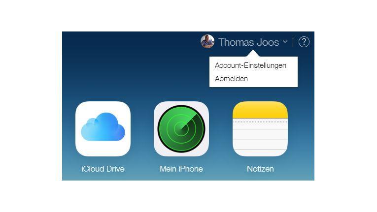 Auf der iCloud-Seite rufen Sie die Account-Einstellungen Ihrer Apple-ID auf.
