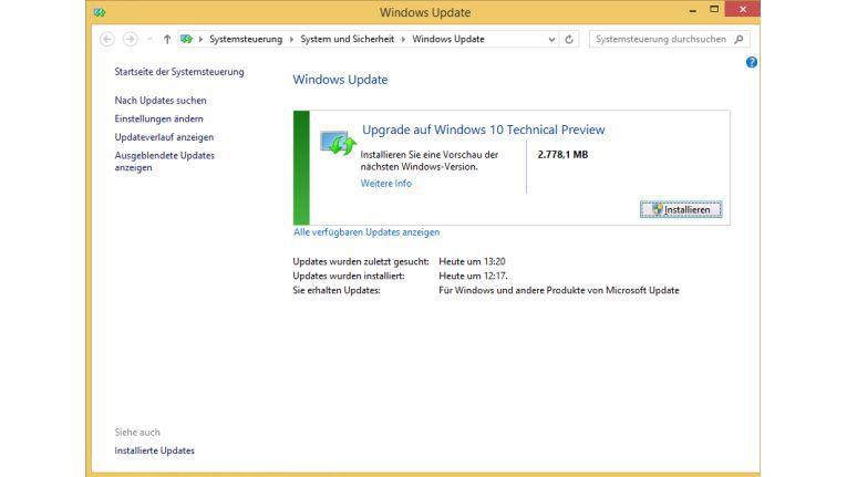 Nach der Vorbereitung von Windows 7/8.1 können Sie direkt zu Windows 10 Technical Preview aktualisieren