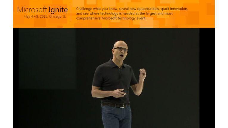 Microsoft CEO Satya Nadella erläuterte in der Keynote der Ignite-Konferenz, wie Softwarelösungen die Arbeit in Unternehmen erleichtern können.