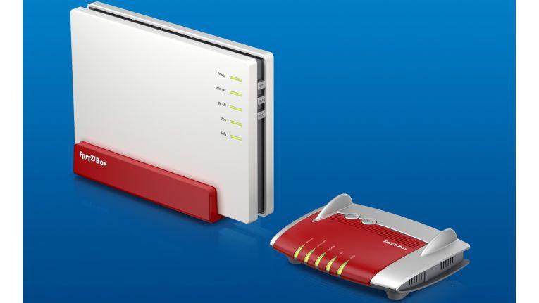 Mit dabei auf der IM.Top sind unter anderem die beiden neuen AVM-Produkte: die kleine FritzBox 4020 (rechts) für den Einsteiger und die kommende FritzBox 4080 als High-End-WLAN-Router.