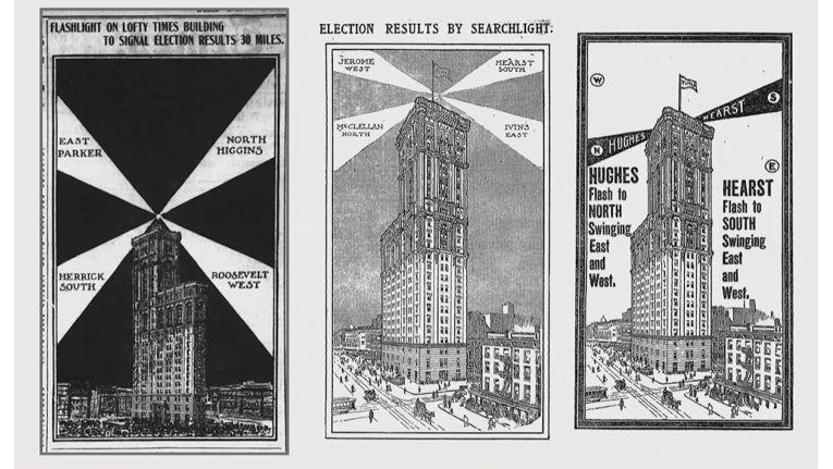 Gebäude der New York Times und datengesteuerte Scheinwerfer.