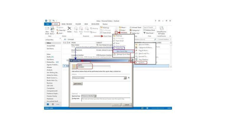 Benutzen Sie Outlook QuickSteps zur Automatisierung von E-Mail Aufgaben, wie das Verschieben von E-Mails aus einem bestimmten Projekt in einen Ordner.