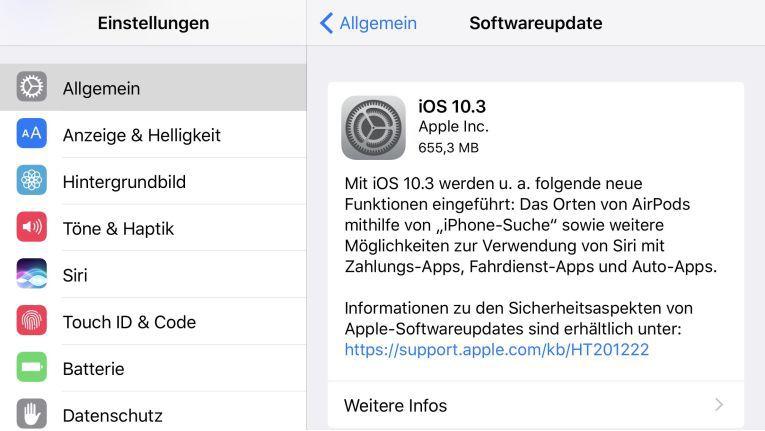 iOS 10.3 steht ab sofort für unterstützte Geräte zum Download zur Verfügung.