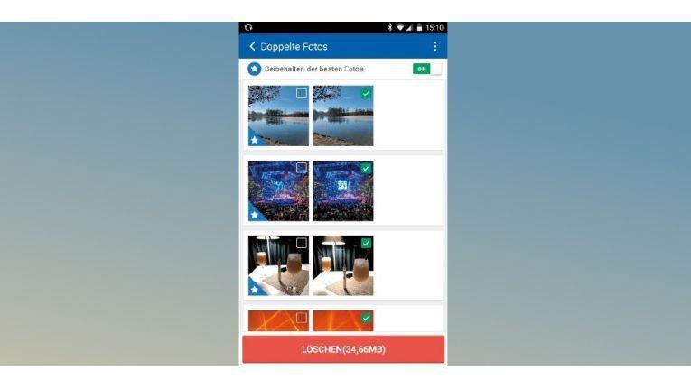"""Der """"Clean Master"""" zeigt Ihnen doppelte Fotos an und markiert das jeweils beste Bild. So können Sie die Dubletten schnell aussortieren und löschen."""