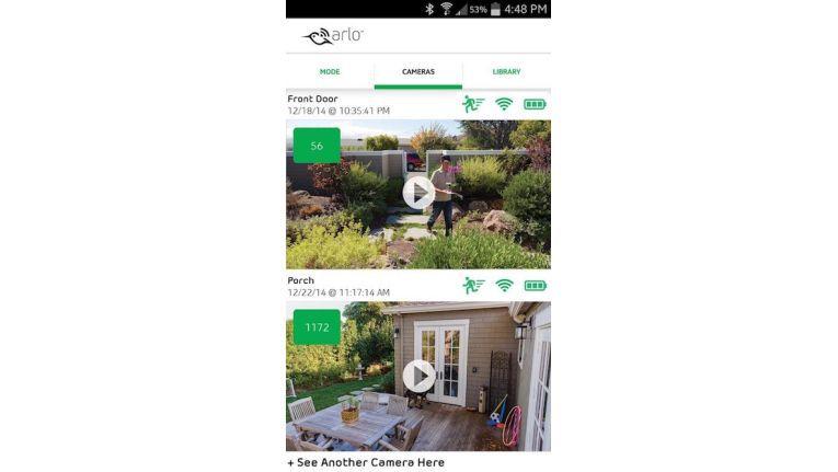 Die Arlo App kann sich durchaus sehen lassen. Auf einen Blick zeigt das Dashboard zwei Kameraaufnahmen.