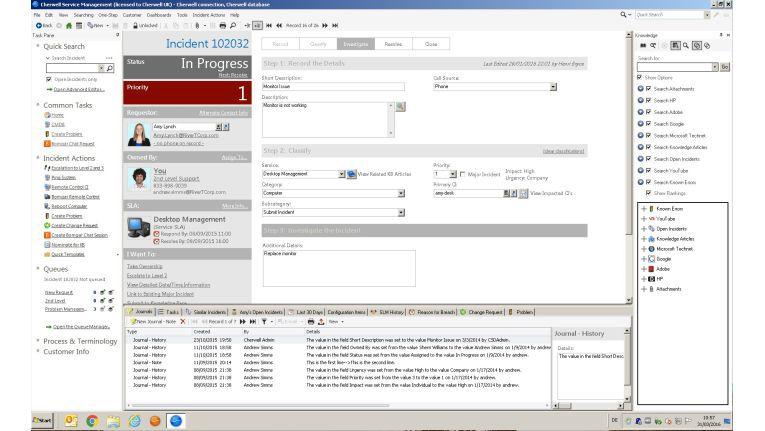 So sieht der Bildschirm für das Ticketing bei Cherwell Service Management aus.