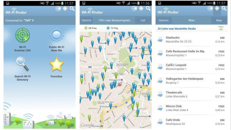 Der WiFI-Finder zeigt verfügbare WLANs in einer Offline-Karte an.