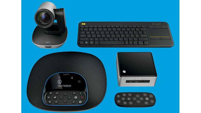 Logitech Group Kit mit Intel NUC. Zur Videokonferenz fehlen nur noch ein Display und der Internet-Zugang - alles andere findet sich in der Box.