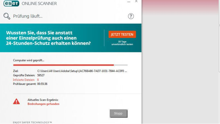 Der Malware-Scanner von Eset in Aktion