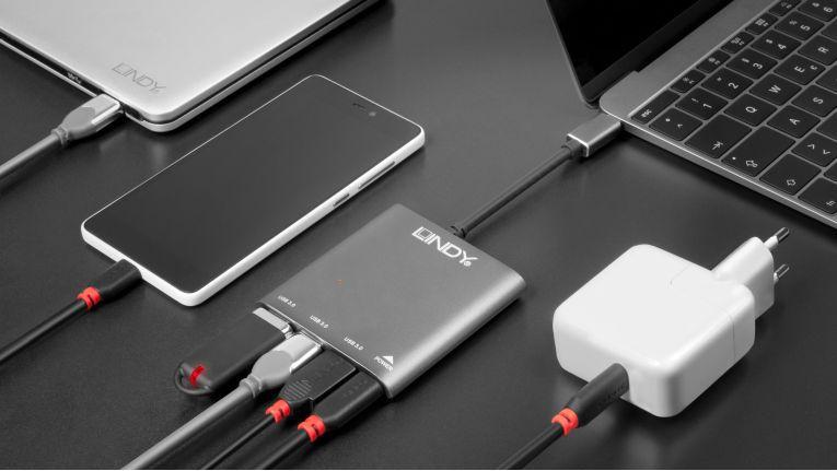 USB 3.1 Typ C Hub 3 Port mit Power Delivery von Lindy