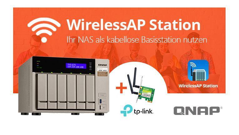 Die QNAP WirelessAP Station macht aus einem NAS eine WLAN-Basisstation.