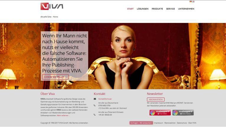 Die etwas andere Werbung auf der Homepage der Viva GmbH.