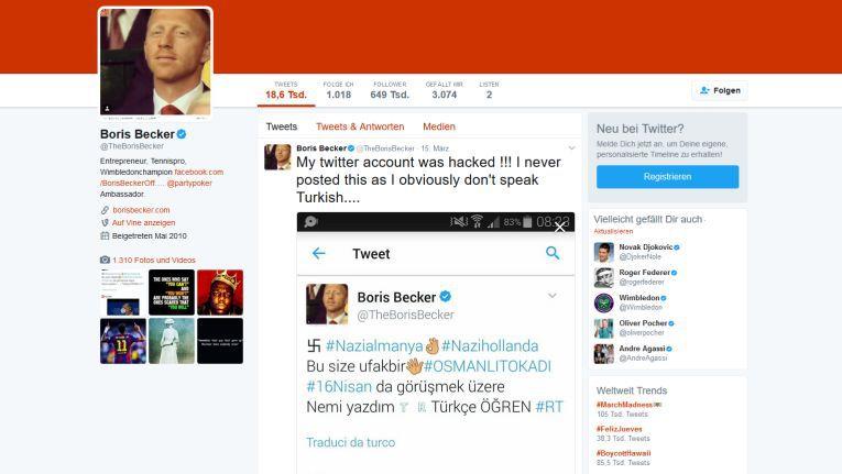 Twitter-Account von Boris Becker gehackt