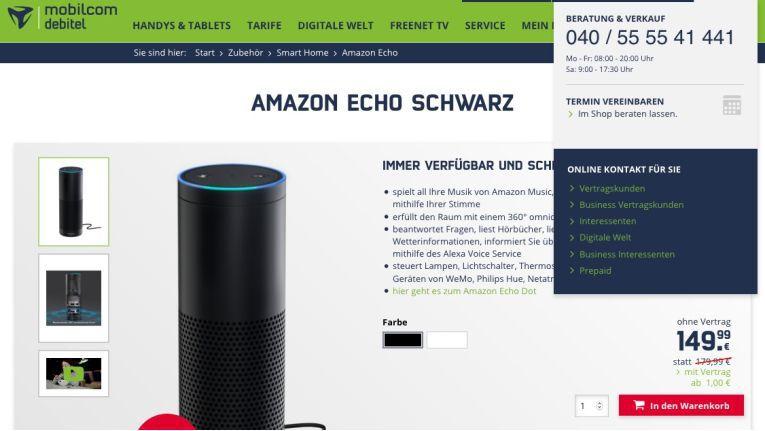 Vom Online-Wettbewerber zum Hardware-Lieferant: Mobilcom-Debitel verkauft nun Amazon Echo