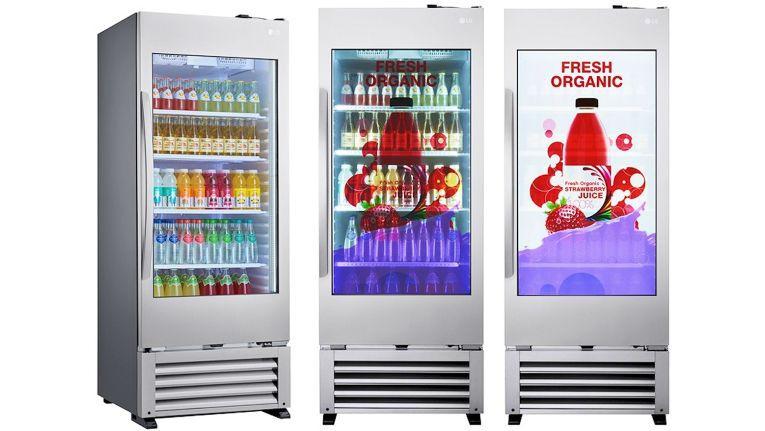 Highlight des Getränke-Coolers LG 49WEC ist sein Display, welches einerseits den Blick ins Innere erlaubt und andererseits als Bildschirm - etwa für Werbefilme - genutzt werden kann.