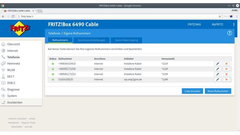 Bevor Wahlregeln definiert werden können, müssen die VOIP-Anbieter in der Fritzbox angelegt werden.