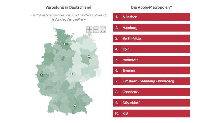 Der Sparhandy-Atlas zeigt: Die meisten iPhones gibt es in den Metropolen