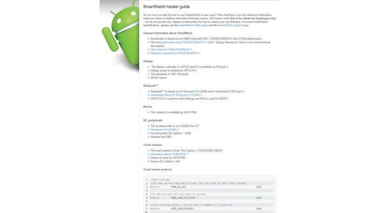 Der Smartwatch Hacker Guide hört sich etwas verboten an, zumal er auch explizite Informationen über ein Touch-Sensor-Protokoll liefert. Tatsächlich stammt er aber von der Sony-Entwicklerseite.