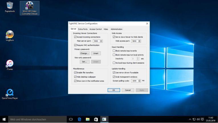 Unter Windows muss ein VNC-Server wie RealVNC oder TightVNC nachinstalliert werden.