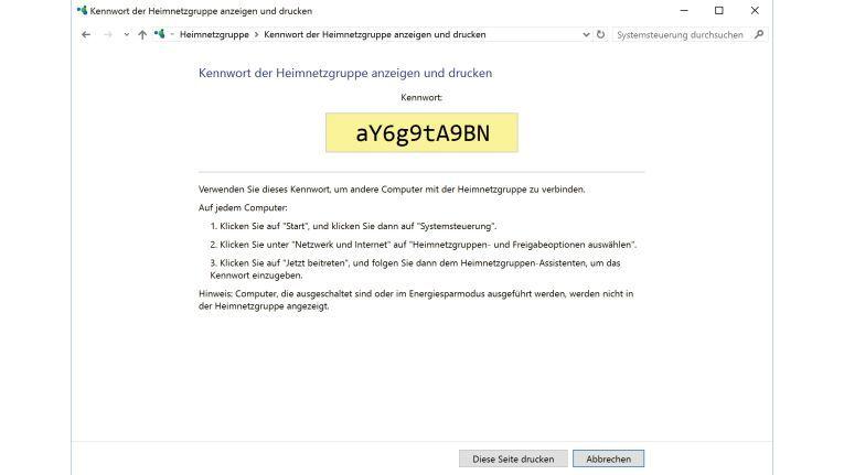 Das alphanumerische Kennwort der Heimnetzgruppe wird zufällig generiert. Sie müssen es auf allen Rechnern, die einer Heimnetzgruppe beitreten wollen, eingeben.