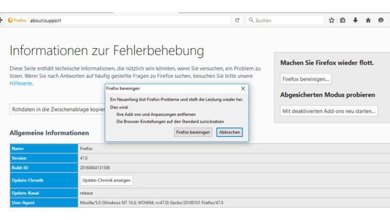 Firefox besitzt eine integrierte Bereinigungsfunktion