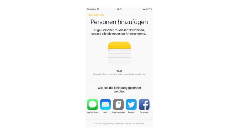 Mehrere Personen können auf die neue Notizen-App zugreifen und Notizen bearbeiten.