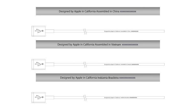 So sind die original Apple-Kabel beschriftet.