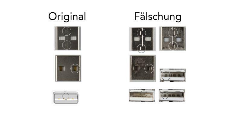 Klare Unterschiede beim USB-Stecker.