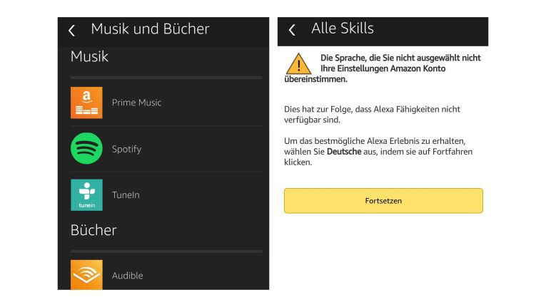 Links eine kleine Auswahl der für Echo verfügbaren Dienste in der Alexa App, an mancher Stelle hakt es aber noch ein wenig (rechts).