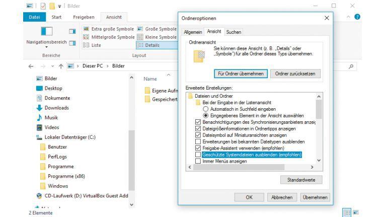 Ordneroptionen: Auf der Registerkarte ?Ansicht? legen Sie fest, welche Elemente der Explorer anzeigt. Für mehr Sicherheit sollten Sie ?Erweiterungen bei bekannten Dateitypen ausblenden? deaktivieren.