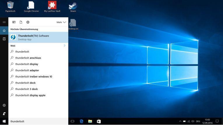 Thunderbolt: Auch ohne Blitzsymbol an der Buchse lässt sich diese USB-Typ-C-Version auf dem Windows-System schnell herausfinden. Denn hierbei ist immer ein Steuerungsprogramm installiert.
