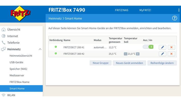 Die Fritz!Dect200 im Webfrontend der Fritzbox.