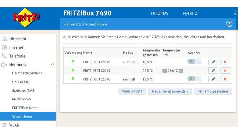 Im Webfrontend der Fritzbox verwalten Sie alle Smart-Home-Geräte von AVM.