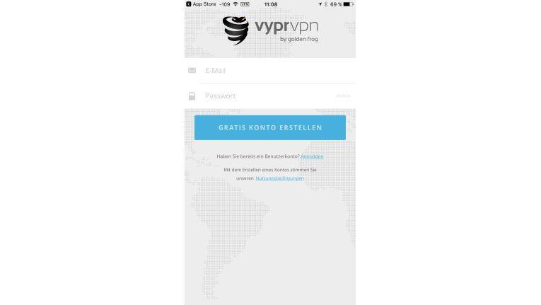 Für die Verwendung von VyprVPN ist ein kostenloses Konto notwendig, das Sie aus der App schnell und einfach einrichten