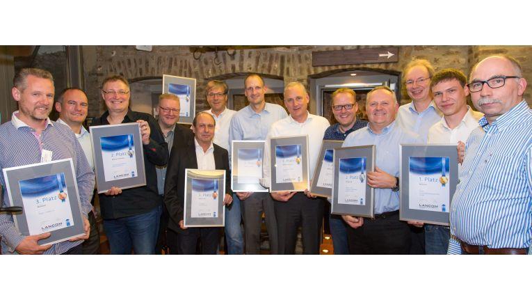 Das sind Lancoms erfolgreichste Partner 2017: Nägel & Köpfe, CompuGroup Medical Deutschland, proLogistik, L und M Business, Systemhaus Cramer, Sievers und alcera Kommunikationstechnik.